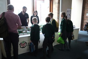 The Pi Hut stand with kids